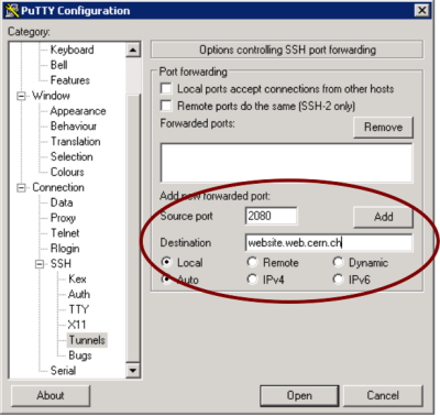 putty local       port forwarding settings